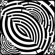 Tunnel Drawings Prints - Double Dobbler Tunnel Maze  Print by Yonatan Frimer Maze Artist