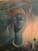 Surrealistic Paintings - Double face of a voodoo woman by Haitian artist