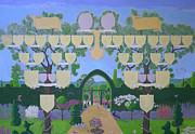 Family Tree Prints - Double family tree chart English garden  Print by Alix Mordant