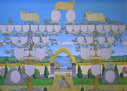 Family Tree Paintings - Double family tree chart Mediterranean garden by Alix Mordant