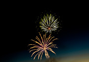 Yellow Black White Silver Prints - Double Fireworks Blast Print by Robert Bales