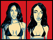 Megan Fox Posters - Double Fox Poster by Ana Dragan