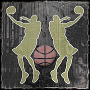 Basketball Abstract Digital Art Posters - Double Hook Poster by David G Paul