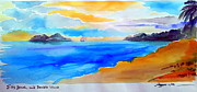 Beach Scenery Drawings Prints - Double Island from Ellis Beach Far North Queensland Australia Print by Roberto Gagliardi