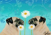 Double Pugs Print by Connie Lawrie