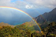 Kalalau Rainbow Framed Prints - Double Rainbow in Paradise Framed Print by Tracey Rabjohns