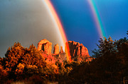 Double Rainbow Posters - Double Rainbow On Cathedral Rock Poster by Linda Pulvermacher