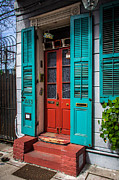 French Door Digital Art Prints - Double Red Door Print by Perry Webster