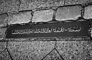 Berlin Germany Photo Prints - double row of bricks across berlin to mark the position of the berlin wall berliner mauer Berlin Germany Print by Joe Fox