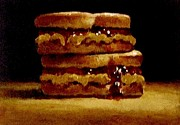 Sandwich Paintings - Double Stacked  Peanut Butter And Jelly Sandwich by William McLane