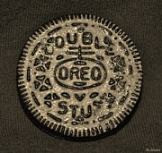 Oreos Prints - DOUBLE STUFF OREO in SEPIA NEGITIVE Print by Rob Hans