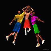 Basketball Digital Art - Double Teamed by Walter Neal