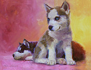 Husky Dog Paintings - Double Trouble - Alaskan Husky Sled Dog Puppies by Karen Whitworth