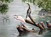 Anhinga Paintings - Double Trouble by Roxanne Tobaison