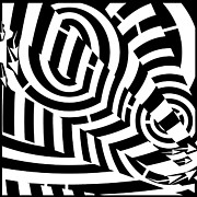 Tunnels Drawings Prints - Double Tunnel Vision Maze  Print by Yonatan Frimer Maze Artist