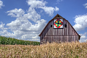 Quilt Barns Framed Prints - Double Windmill Framed Print by Nikolyn McDonald