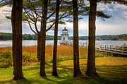 Maine Lighthouses Posters - Doubling Point Light I Poster by Clarence Holmes