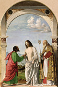 Incredulity Painting Posters - Doubting Thomas with St. Magnus Poster by Giovanni Battista Cima da Conegliano
