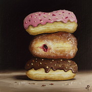 Jelly Donut Prints - Doughnut Trio #1 Print by Jane Palmer