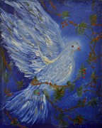 Louise Burkhardt Painting Metal Prints - Dove Spirit of Peace Metal Print by Louise Burkhardt