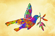 Heaven Digital Art Prints - Dove With Olive Branch Print by Christina Rollo