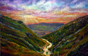 Kinkade Framed Prints - Dovedale Sunset Framed Print by Ann Marie Bone
