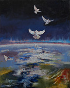 Michael Painting Framed Prints - Doves Framed Print by Michael Creese