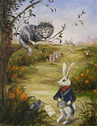 Alice In Wonderland Paintings - Down a Rabbit Hole by Stella Violano