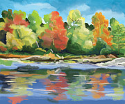 Fall  Of River Paintings - Down By The River by Tim Gilliland