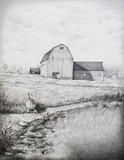 Barn Drawing Drawings - Down by the Stream by Emily Wickerham