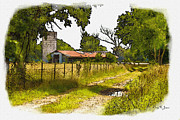 Country Dirt Roads Digital Art Prints - Down Country Roads Print by Barry Jones