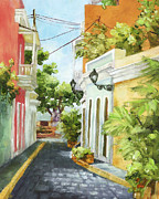Puerto Rico Painting Posters - Down From El Convento Poster by Monica Linville