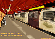 Humour Mixed Media Posters - Down in the tube station at midnight Poster by Colin Dukelow