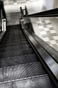 Escalator Metal Prints - Down Metal Print by Margie Hurwich