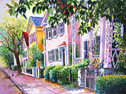 Old Houses Painting Posters - Down on Franklin Street Poster by Alice Grimsley