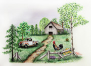 Pet Drawing Drawings Posters - Down on the Farm Poster by Lena Auxier
