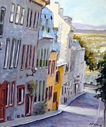 Quebec Art Paintings - Down The Hill Old Quebec City by Richard T Pranke