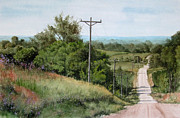 Gravel Road Paintings - Down the Road by Denny Dowdy
