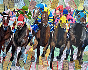 Kentucky Derby Mixed Media Prints - Down The Straight Away Print by Michael Lee