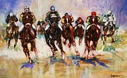 Horse Racing Paintings - Down the Stretch by Al Brown