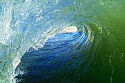 Blue Green Wave Photos - Down the Tube by Paul Topp