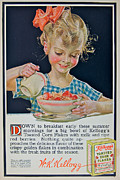 Little Girls Mixed Media Posters - Down To Breakfast Poster by Ira Shander