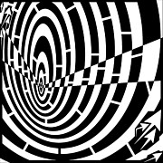 Tunnel Drawings Prints - Down Tunnel Spinning Maze Print by Yonatan Frimer Maze Artist