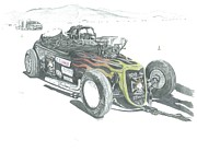 Salt Flats Drawings - Down Under Roadster by Stacey Becker