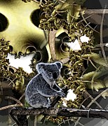 Koala Digital Art Prints - Down Under Print by Ron Bissett