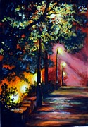 Night Lamp Painting Originals - Downhill by Adhijit Bhakta