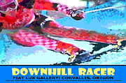 Skiing Art Posters Prints - Downhill Racer Print by Mike Moore FIAT LUX