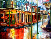 City Buildings Painting Framed Prints - Downpour on Bourbon Street Framed Print by Diane Millsap