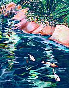 Koi Painting Posters - Downstream Poster by Eve  Wheeler