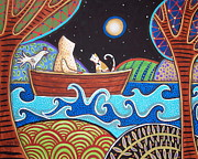 Folk  Paintings - Downstream by Karla Gerard